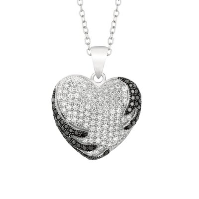 Silver on the Rocks Sterling Silver Micro-Set Cubic Zirconium Heart Necklaces