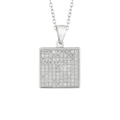 Silver on the Rocks Sterling Silver Micro-Set 100 Cubic Zirconium Square Necklaces