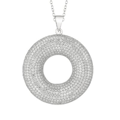 Silver on the Rocks Sterling Silver Micro-Set 601 Cubic Zirconium Circle Necklaces