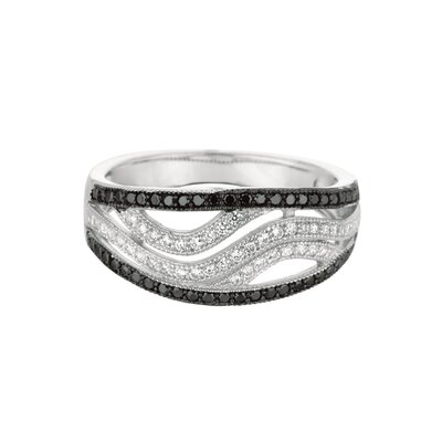 Silver on the Rocks Sterling Silver Micro-Set Cubic Zirconium Band Fashion Ring