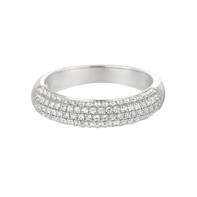 Sterling Silver Micro-Set 104 Cubic Zirconium Band Fashion Ring