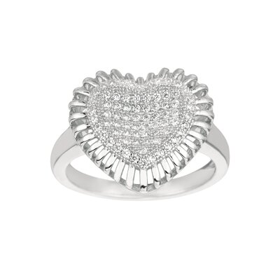 Sterling Silver Micro-Set Cubic Zirconium Heart in Circle Fashion Ring