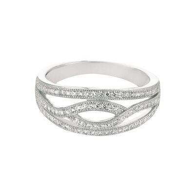 Silver on the Rocks Sterling Silver Micro-Set 88 Cubic Zirconium Band Fashion Ring