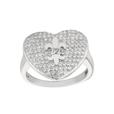 Silver on the Rocks Sterling Silver Micro-Set Cubic Zirconium Heart with Fleur De Lis Fashion Ring