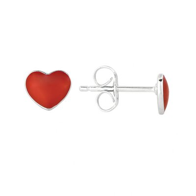 Juliette Collection Sterling Silver and Enamel Heart Earring