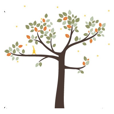 LittleLion Studio Trees Follow the Little Rabbit Wall Decal