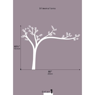 LittleLion Studio Monochromatic Leaning Tree Wall Decal