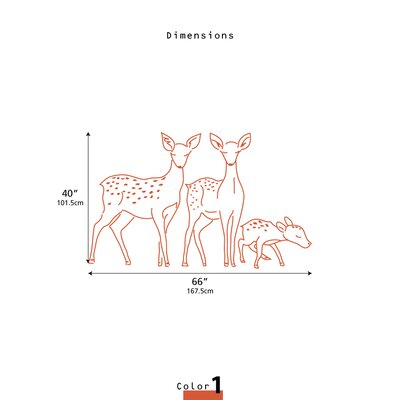 LittleLion Studio Fauna Deer Family Outline Wall Decal