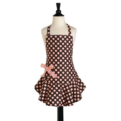 Jessie Steele Brown and Pink Polka Dot Childeren's Bib Josephine Apron