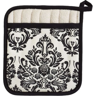 Jessie Steele Cream and Black Damask Square Pot Mitt