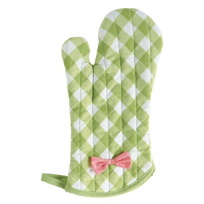 Meadow Green Gingham Polka Dot Oven Mitt with Bow
