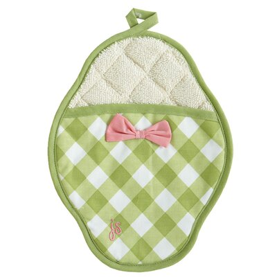 Jessie Steele Meadow Green Gingham Polka Dot Scalloped Pot Mitt