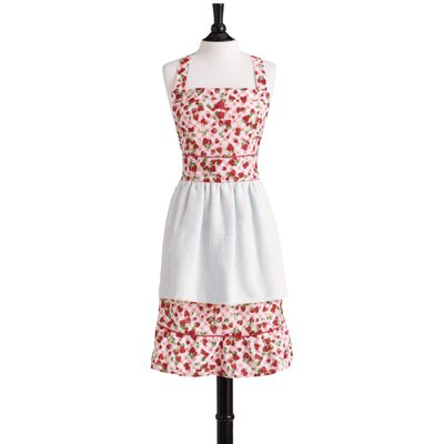 Jessie Steele Strawberry Gingham Bib Farmer's Market Apron with Towel