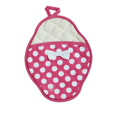 Jessie Steele Pink and White Polka Dot Scalloped Pot-Mitt