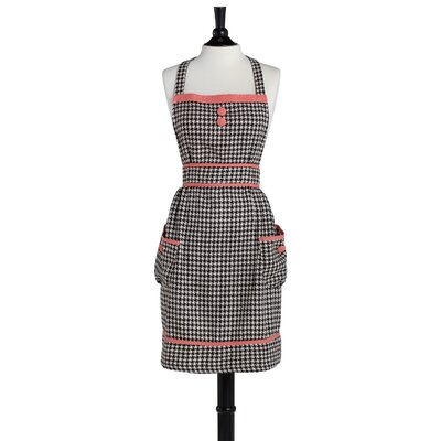Jessie Steele Brown and Cream Woven Houndstooth Doris Apron