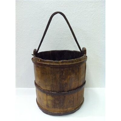 Antique Revival Asian Antique Iron Handle Water Bucket