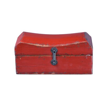 Antique Revival Chinese Pillow Box with Iron Latch