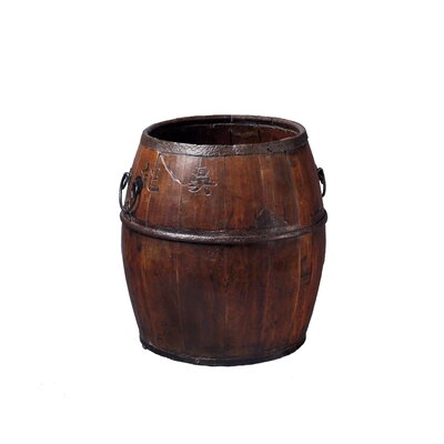 Antique Revival Wooden Rice Barrel with Iron Handles