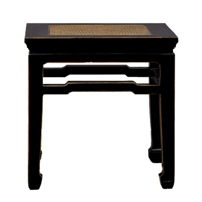 Chinese-Style End Table with Rattan Top