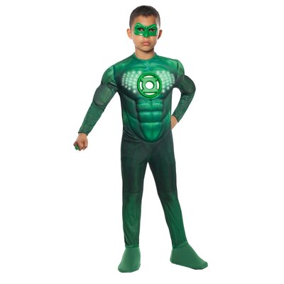 Rubies Green Lantern Deluxe Light Up Muscle Chest Hal Jordan Child Costume