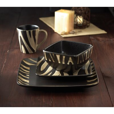 Safari Zebra 16 Piece Dinnerware Set
