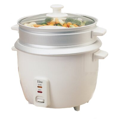 Elite Gourmet Deluxe 8-Cup Rice Cooker with Steam Tray
