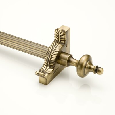 "Zoroufy Grand Dynasty 36"" Fluted Tubular Stair Rod Set with Decorative Brackets Grand Urn Finials"