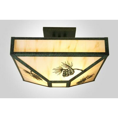 Pinecone 4 Light Post Drop Semi Flush Mount Ceiling Light