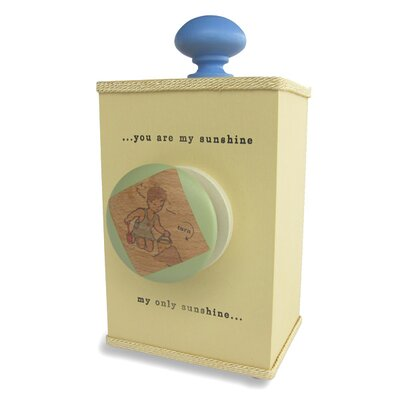 "Tree by Kerri Lee ""You Are My Sunshine"" Wind Up Music Box in Distressed Yellow / Blue"