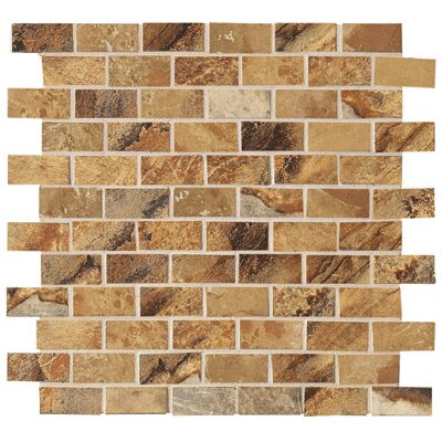 "Marazzi Jade 13"" x 13"" Decorative Brick Mosaic in Ochre"