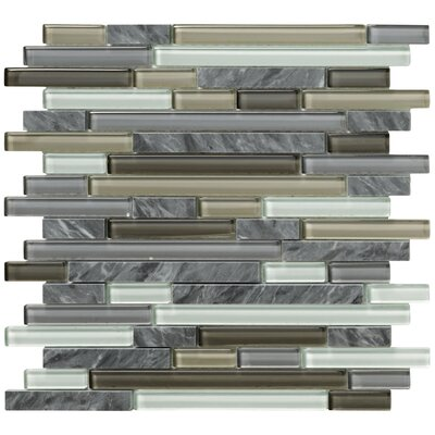 Crystal Stone II Random Sized Glass Strip Mosaic in Pewter
