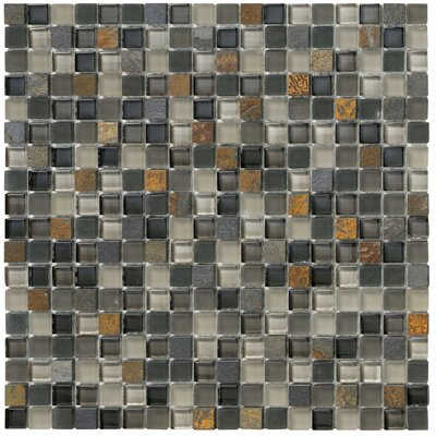 Crystal Stone II Glass Square Mosaic in Slate
