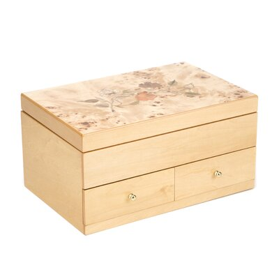 Tori Home Auberon Jewelry Box with Floral Inlay Design in Oak