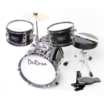 "DeRosa Black 3 Piece 12"" Kids Drum Set with Sticks and Drum Chair"