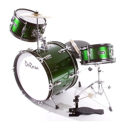 "DeRosa Green 3 Piece 16"" Junior Drum Set with Sticks and Drum Chair"
