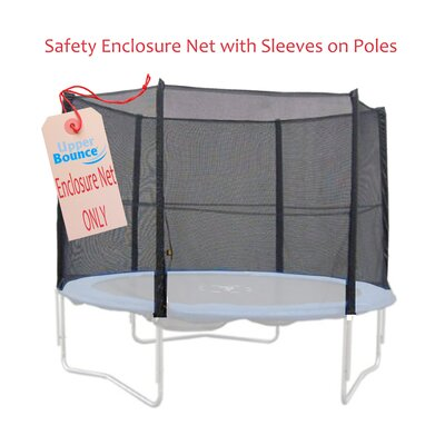 Upper Bounce 12' Trampoline Enclosure Safety Net Fits for 12 FT. Round Frames using 6 Straight Poles, Installs Outside of Frame (Poles Not Included)