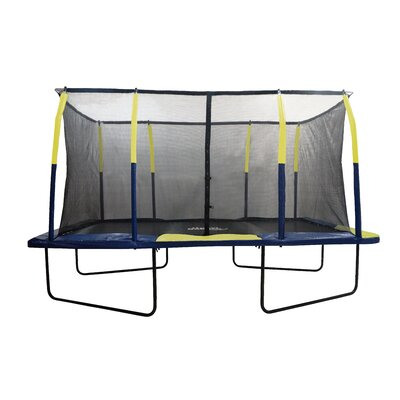 Spacious 15' Rectangular Trampoline with Fiber Flex Enclosure