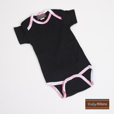 Baby Milano Camo Infant Bodysuit in Black with Pink Camouflage Trim