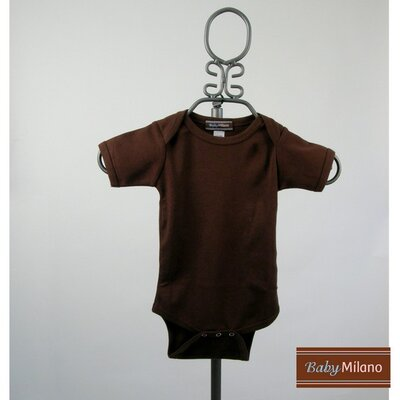 Short Sleeve Infant Bodysuit in Brown
