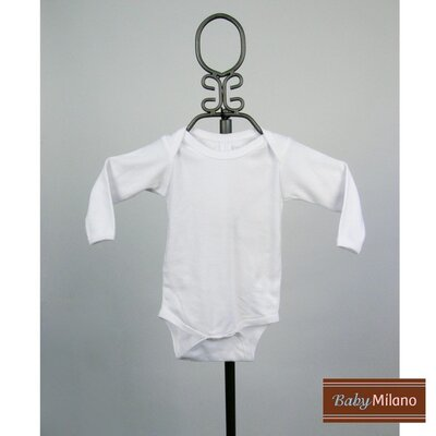 Long Sleeve Infant Bodysuit in White