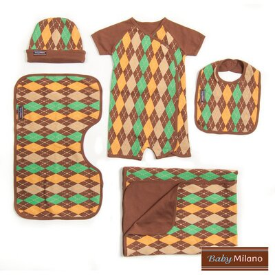 5 Piece Baby Gift Set in Brown Argyle