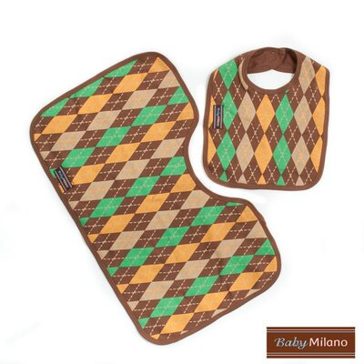 Baby Milano Bib and Burp Cloth Set in Brown Argyle