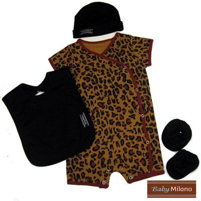 4 Piece Baby Clothing Gift Set in Leopard Print and Black