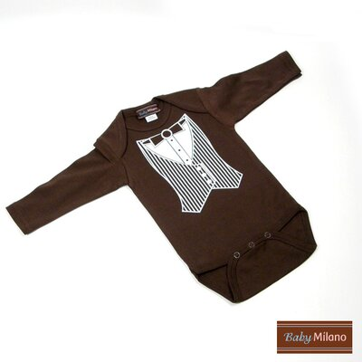 Baby Milano Brown Tuxedo Vest Infant Bodysuit - Long Sleeve