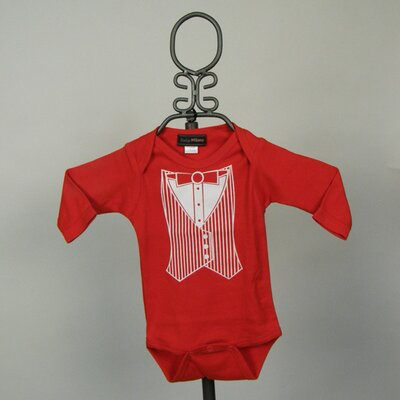 Red Tuxedo Vest Infant Bodysuit - Long Sleeve