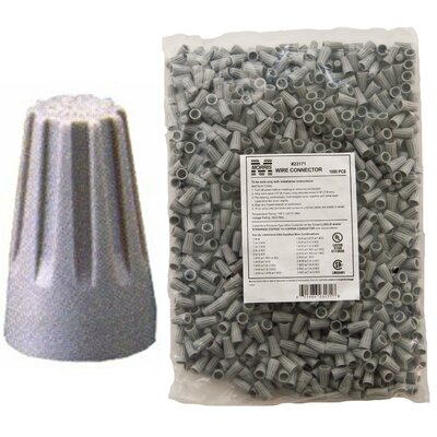 Morris Products Screw-On Wire P1 Connectors in Gray (Bagged 500 Bulk Pack)