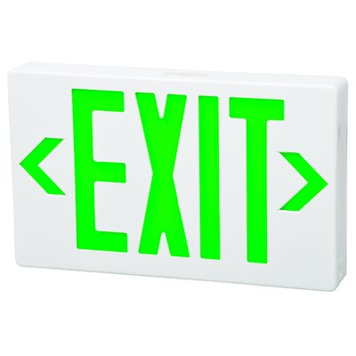 Morris Products LED Exit Sign in Green LED and White Housing with Battery Backup