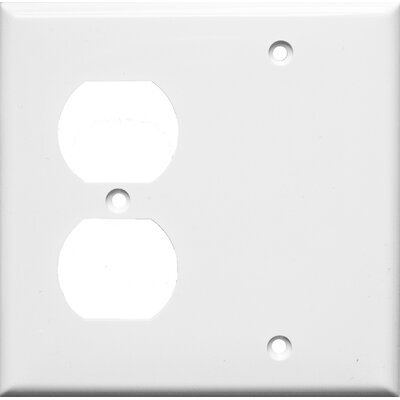 Morris Products 2 Gang 1 Duplex 1 Blank Lexan Wall Plates in White