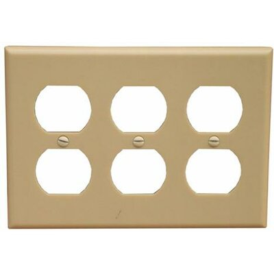 Morris Products 3 Gang Duplex Lexan Receptacle Wall Plates in Ivory