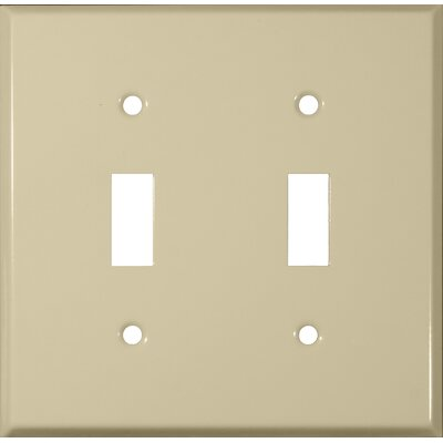 Morris Products Two Gang and Toggle Switch Metal Wall Plates in Ivory